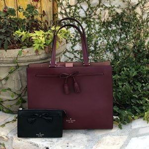 Nwt Kate spade Hayes LG bow handbag&wallet